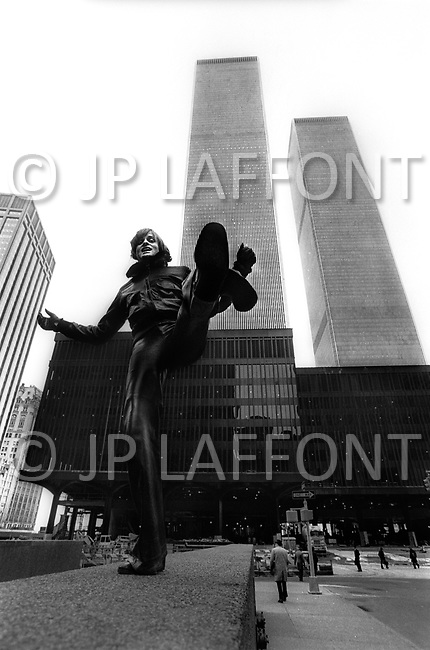 Financial District, Manhattan, NYC. January 1976. Dutch singer Dave, one of France's biggest pop stars of the '70, during one of his visits to NYC.