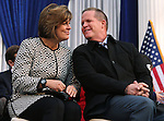 Lt. Gov. Mark Hutchison and his wife Cary talk during the inaugural ceremony at the Capitol, in Carson City, Nev., on Monday, Jan. 5, 2015.<br /> Photo by Cathleen Allison