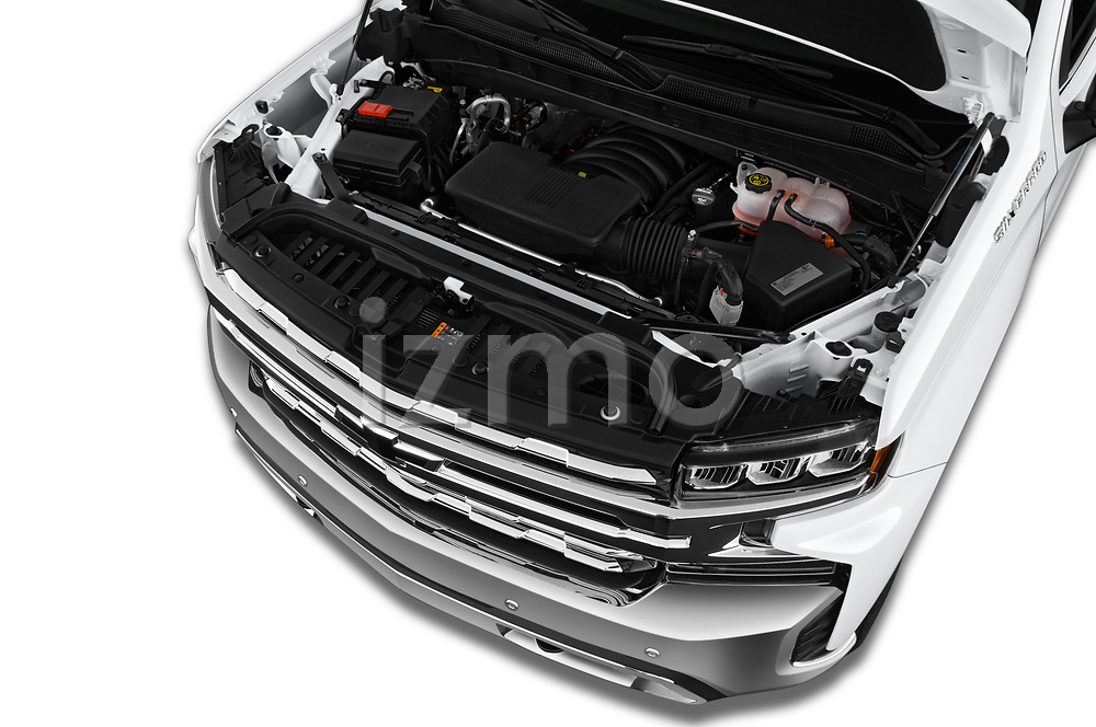Car stock 2019 Chevrolet Silverado 1500 LTZ 4 Door Pick Up engine high angle detail view