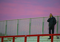 A Blackpool fan makes a call before the match<br /> <br /> Photographer Alex Dodd/CameraSport<br /> <br /> EFL Checkatrade Trophy - Northern Section Group B - Accrington Stanley v Blackpool - Tuesday 3rd October 2017 - Crown Ground - Accrington<br />  <br /> World Copyright &copy; 2018 CameraSport. All rights reserved. 43 Linden Ave. Countesthorpe. Leicester. England. LE8 5PG - Tel: +44 (0) 116 277 4147 - admin@camerasport.com - www.camerasport.com