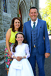 23/05/2015 – Termonfeckin Communion – Abigail McArdle with her parents Emily and Padraig.