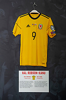 Hal Robson-Kanu's 2017 Wales third Shirt is displayed at The Art of the Wales Shirt Exhibition at St Fagans National Museum of History in Cardiff, Wales, UK. Monday 11 November 2019