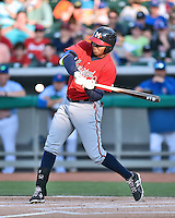 Mississippi Braves third baseman Carlos Franco (13) swings at a pitch during a game against the Tennessee Smokies at Smokies Stadium on May 7, 2016 in Kodak, Tennessee. The Smokies defeated the Braves 5-3. (Tony Farlow/Four Seam Images)