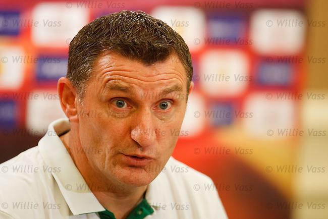 Tony Mowbray at Celtic's Europa League press conference in Tel Aviv