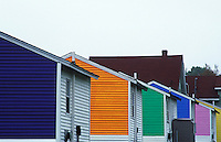 USA, Maine, Mount Desert Island, row of colorful motels units