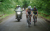 Adam Hansen (AUS) & Christopher Juul Jensen (DNK) are the only 2 remaining riders from an early breakaway with about 15km to go<br /> <br /> 2013 Ster ZLM Tour <br /> stage 4: Verviers - La Gileppe (186km)