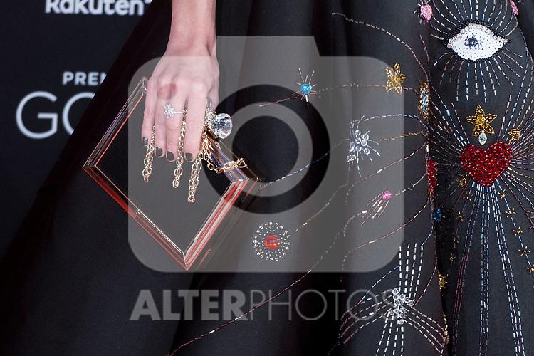 Handbag Nuria Gago attends red carpet of Goya Cinema Awards 2018 at Madrid Marriott Auditorium in Madrid , Spain. February 03, 2018. (ALTERPHOTOS/Borja B.Hojas)