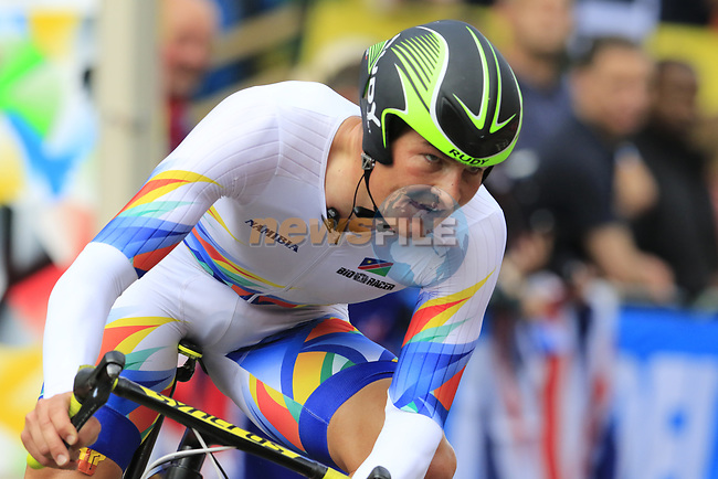 Dirk Coetzee (NAM) in action during the Men Elite Individual Time Trial of the UCI World Championships 2019 running 54km from Northallerton to Harrogate, England. 25th September 2019.<br /> Picture: Eoin Clarke | Cyclefile<br /> <br /> All photos usage must carry mandatory copyright credit (© Cyclefile | Eoin Clarke)