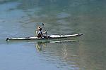 KIYAK ON BOW LAKE, BANFF NATIONAL PARK, ALBERTA, CANADA