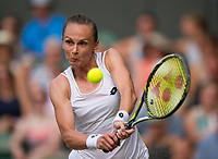 Magdalena Rybarikova of Slovakia in action during her victory over Karolina Pliskova of The Czech Republic in their Ladies' Singles Second Round Match today - Rybarikova def Pliskova 3-6, 7-5, 6-2<br /> <br /> Photographer Ashley Western/CameraSport<br /> <br /> Wimbledon Lawn Tennis Championships - Day 4 - Thursday 6th July 2017 -  All England Lawn Tennis and Croquet Club - Wimbledon - London - England<br /> <br /> World Copyright &not;&copy; 2017 CameraSport. All rights reserved. 43 Linden Ave. Countesthorpe. Leicester. England. LE8 5PG - Tel: +44 (0) 116 277 4147 - admin@camerasport.com - www.camerasport.com