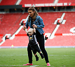Coleen Ronney with son Kit during the English Premier League match at the Old Trafford Stadium, Manchester. Picture date: May 21st 2017. Pic credit should read: Simon Bellis/Sportimage