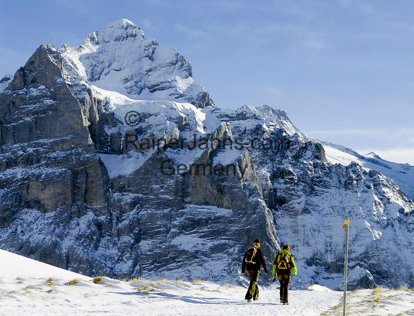 CHE, Schweiz, Kanton Bern, Berner Oberland, Grindelwald: Paar auf dem Winterwanderweg First - Bachalpsee vorm Wetterhorn 3.701 m | CHE, Switzerland, Bern Canton, Bernese Oberland, Grindelwald: couple at winter hiking trail First - Lake Bachalpsee and Wetterhorn mountain 12.143 ft.
