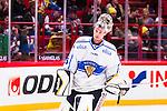 Stockholm 2014-05-03 Ishockey Oddset Hockey Games  Sverige - Finland :  <br /> Finlands m&aring;lvakt Pekka Rinne <br /> (Foto: Kenta J&ouml;nsson) Nyckelord:  Oddset Hockey Games Sverige Swe Tre Kronor Finland Fin Globen Ericsson Globe Arena portr&auml;tt portrait
