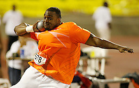 Dorian Scott placed 2nd. in the shot put with a mark of 21.09m at the Jamaica International Invitational Meet on Saturday, May 2nd. 2009. Photo by Errol Anderson,The Sporting Image.net