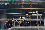 Construction workers are seen at the new National Stadium under construction on August 31, 2018, Tokyo, Japan. The new stadium will host the 2020 Tokyo Olympic and Paralympic Games. (Photo by Rodrigo Reyes Marin/AFLO)