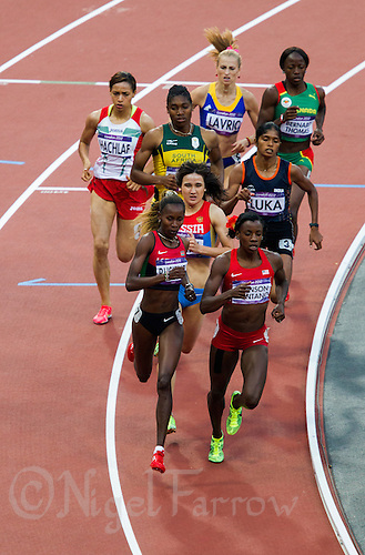 09 AUG 2012 - LONDON, GBR - Alysia Johnson-Montano (USA) (bottom right) of the USA leads her women's 800m semi final at the London 2012 Olympic Games athletics in the Olympic Stadium, Stratford, London, Great Britain (PHOTO (C) 2012 NIGEL FARROW)