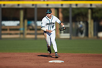 Coastal Carolina Chanticleers shortstop Scott McKeon (10) on defense against the Illinois Fighting Illini at Springs Brooks Stadium on February 22, 2020 in Conway, South Carolina. The Fighting Illini defeated the Chanticleers 5-2. (Brian Westerholt/Four Seam Images)
