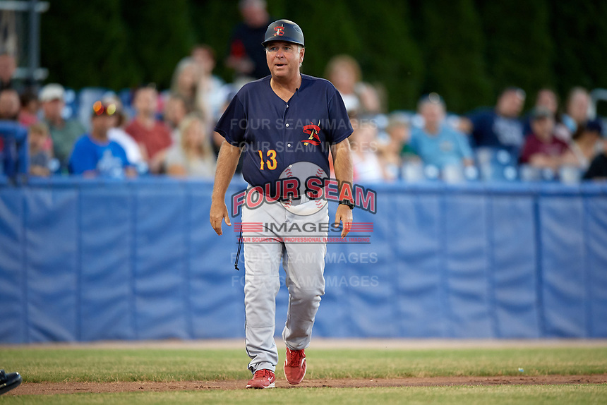 State College Spikes manager Joe Kruzel (13) argues a foul ball, instead of hit by pitch, call during a game against the Batavia Muckdogs on July 7, 2018 at Dwyer Stadium in Batavia, New York.  State College defeated Batavia 7-4.  (Mike Janes/Four Seam Images)