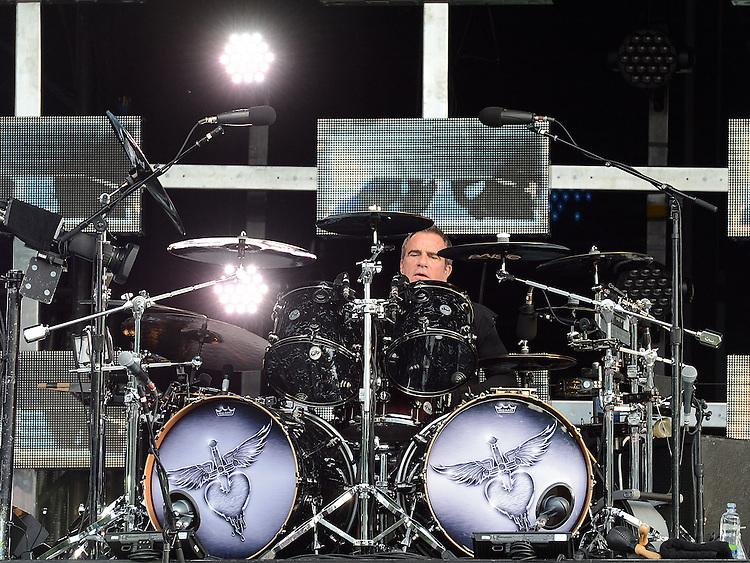 Bon Jovi drummer Tico Torres performing at Slane Castle. Photo:Colin Bell/pressphotos.ie