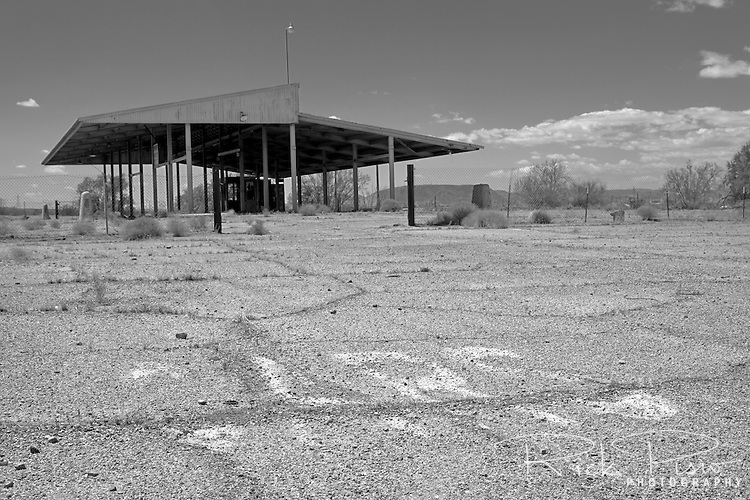 The abandoned agriculture inspection in California's Mojave Desert along Route 66 at Dagget. The inspection station once stopped Route 66 travelers until it was closed in 1965 and relocated 142 miles east on Interstate 40 near the town of Needles.