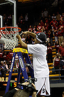 BERKELEY, CA - MARCH 30: Melanie Murphy cuts down the net following Stanford's 74-53 win against the Iowa State Cyclones on March 30, 2009 at Haas Pavilion in Berkeley, California.