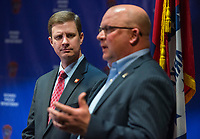 NWA Democrat-Gazette/BEN GOFF @NWABENGOFF<br /> Nathan Smith (left), Benton County prosecuting attorney, looks on as Hayes Minor, Rogers chief of police, talks Thursday, Feb. 7, 2019, during a press conference at the Rogers Police Department. The conference was held following Grant Hardin pleading guilty to the 1997 rape of a teacher at Frank Tillery Elementary.