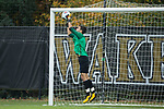 Wake Forest Demon Deacons goalie Andreu Cases Mundet (1) makes a save during first half action against the Virginia Tech Hokies at Spry Soccer Stadium on November 5, 2017 in Winston-Salem, North Carolina.  The Demon Deacons defeated the Hokies 3-0.  (Brian Westerholt/Sports On Film)