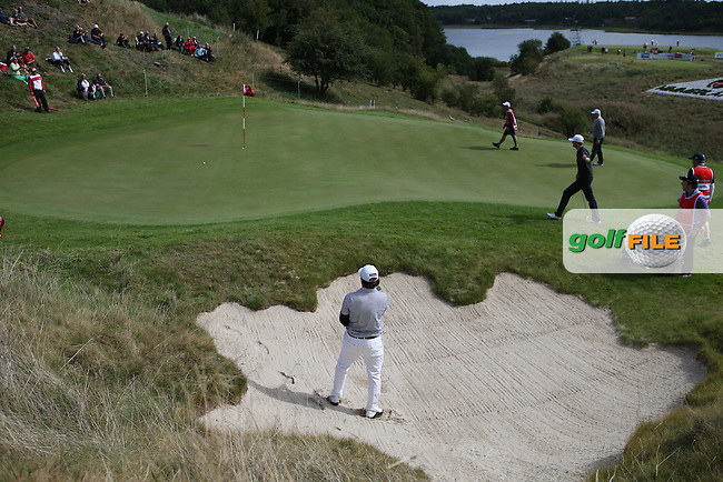 Michael Miller (USA) out of the 16th bunker during Round Two of the Made in Denmark 2014 Pro-Am from the Himmerland Golf & Spa Resort, Aalborg, Denmark. Picture:  David Lloyd / www.golffile.ie
