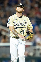 Vanderbilt Commodores pitcher Tyler Brown (21) during Game 12 of the NCAA College World Series against the Louisville Cardinals on June 21, 2019 at TD Ameritrade Park in Omaha, Nebraska. Vanderbilt defeated Louisville 3-2. (Andrew Woolley/Four Seam Images)