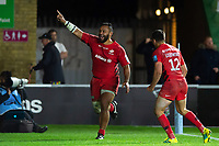 Billy Vunipola of Saracens celebrates his second half try. Gallagher Premiership match, between Harlequins and Saracens on October 6, 2018 at the Twickenham Stoop in London, England. Photo by: Patrick Khachfe / JMP