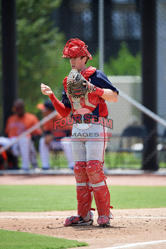 GCL Nationals catcher Joey Harris (4) during a game against the GCL Astros on August 6, 2018 at FITTEAM Ballpark of the Palm Beaches in West Palm Beach, Florida.  GCL Astros defeated GCL Nationals 3-0.  (Mike Janes/Four Seam Images)