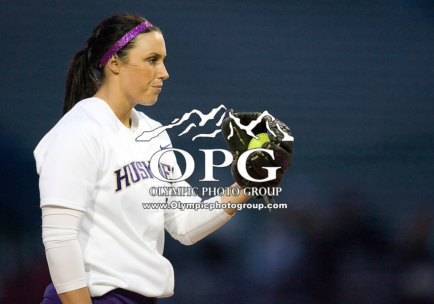1 April 2010:  Washington Huskies pitcher Danielle Lawrie gets the sign from her catcher before pitching against UCLA.  UCLA defeated Washington 1-0 at Husky Softball Stadium in Seattle, WA.