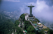 Rio de Janeiro, Brazil. Christ Statue, aerial view showing the escalator from the car park; Corcovado mountain.
