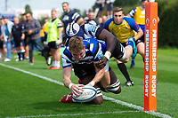 Ruaridh McConnochie of Bath United reaches for the try-line. Premiership Rugby Shield match, between Bristol Bears A and Bath United on August 31, 2018 at the Cribbs Causeway Ground in Bristol, England. Photo by: Patrick Khachfe / Onside Images