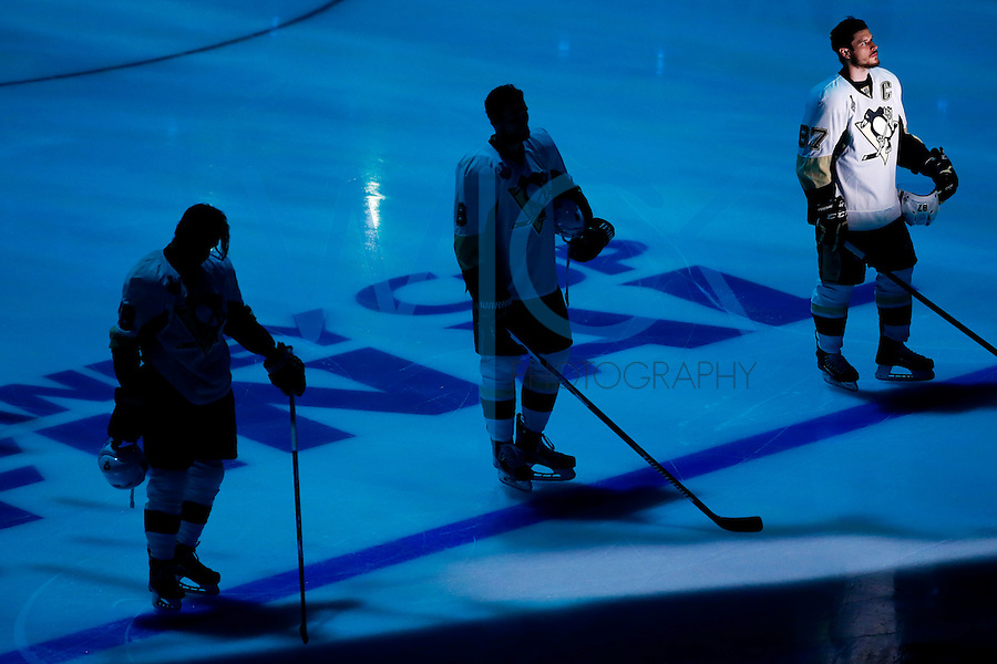 Sidney Crosby #87 of the Pittsburgh Penguins is introduced prior to game three of the Stanley Cup Final against the San Jose Sharks at the SAP Center in San Jose, California on June 4, 2016. (Photo by Jared Wickerham / DKPS)