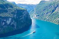 Hurtigruten coastal steamer in Geiranger Fjord