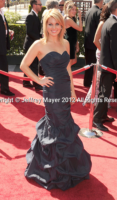 LOS ANGELES, CA - SEPTEMBER 15: Candace Cameron Bure arrives at the 2012 Primetime Creative Arts Emmy Awards at Nokia Theatre L.A. Live on September 15, 2012 in Los Angeles, California.