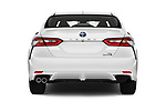 Straight rear view of a 2019 Toyota Camry Hybrid SE 4 Door Sedan stock images