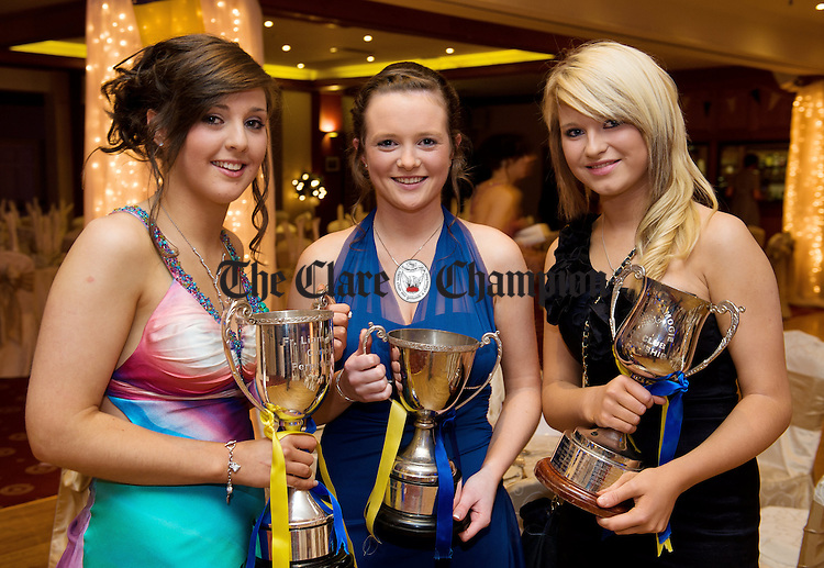 Rosanne O Loughlin, Edel Devereux and Laura Rynne at the Inagh Camogie Club Dinner Dance in the Falls hotel, Ennistymon, to celebrate their Junior All-Ireland title win. Photograph by John Kelly.