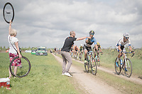 Mihkel Raim (EST/Cycling Academy) getting handed a bidon<br /> <br /> 91st Schaal Sels 2016