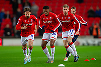 4th November 2019; Bet365 Stadium, Stoke, Staffordshire, England; English Championship Football, Stoke City versus West Bromwich Albion; Joe Allen, Tyrese Campbell, Nathan Collins and Nick Powell of Stoke City warm up - Strictly Editorial Use Only. No use with unauthorized audio, video, data, fixture lists, club/league logos or 'live' services. Online in-match use limited to 120 images, no video emulation. No use in betting, games or single club/league/player publications