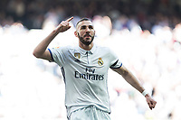 Karim Benzema of Real Madrid celebrates after scoring a goal during the match of  La Liga between Real Madrid and Deportivo Alaves at Bernabeu Stadium Stadium  in Madrid, Spain. April 02, 2017. (ALTERPHOTOS / Rodrigo Jimenez)<br /> Liga Campionato Spagna 2016/2017<br /> Foto Alterphotos / Insidefoto <br /> ITALY ONLY
