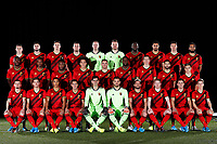 Team Belgium pictured during a photo session presenting the new home kit of the Belgian National Football Team at the Belgian Football center on November 13, 2019 in Tubize, Belgium, 13/11/2019 ( Photo by Jimmy Bolcina / Photonews<br /> UP L-R: Timothy Castagne defender of Belgium, Elias Cobbaut, Leander Dendoncker midfielder of Belgium, Toby Alderweireld defender of Belgium, Matz Sels goalkeeper of Belgium, Simon Mignolet goalkeeper of Belgium, Romelu Lukaku forward of Belgium, Nacer Chadli midfielder of Belgium, Jason Denayer defender of Belgium, Brandon Mechele defender of Belgium<br /> MIDDLE L-R: Christian Benteke forward of Belgium, Dedryck Boyata defender of Belgium, Michy Batshuayi forward of Belgium, Axel Witsel midfielder of Belgium, Thomas Vermaelen defender of Belgium, Divock Origi forward of Belgium, Hans Vanaken midfielder of Belgium, Yannick Carrasco forward of Belgium, Leandro Trossard forward of Belgium<br /> DOWN L-R: Maxime Lestienne, Dennis Praet midfielder of Belgium, Youri Tielemans midfielder of Belgium, Eden Hazard midfielder of Belgium, Hendrik Van Crombrugge goalkeeper of Belgium, Thibaut Courtois goalkeeper of Belgium, Dries Mertens forward of Belgium, Kevin De Bruyne forward of Belgium, Thorgan Hazard midfielder of Belgium, Yari Verschaeren midfielder of Belgium<br /> <br /> <br /> <br /> <br /> Tubize 12/11/2019 <br /> Calcio presentazione della nuova maglia della Nazionale del Belgio <br /> Photo De Voecht  Kalut/Photonews/Panoramic/insidefoto<br /> ITALY ONLY