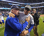 (L-R) Joe Maddon, Munenori Kawasaki (Cubs),<br /> NOVEMBER 2, 2016 - MLB :<br /> Munenori Kawasaki of the Chicago Cubs celebrates with manager Joe Maddon after winning the Major League Baseball World Series Game 7 against the Cleveland Indians at Progressive Field in Cleveland, Ohio, United States. (Photo by AFLO)