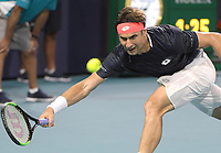 MIAMI GARDENS, FLORIDA - MARCH 25: Frances Tiafoe defeats David Ferrer of Spain during day 8 of the Miami Open presented by Itau at Hard Rock Stadium on March 25, 2019 in Miami Gardens, Florida. <br /> <br /> People: David Ferrer