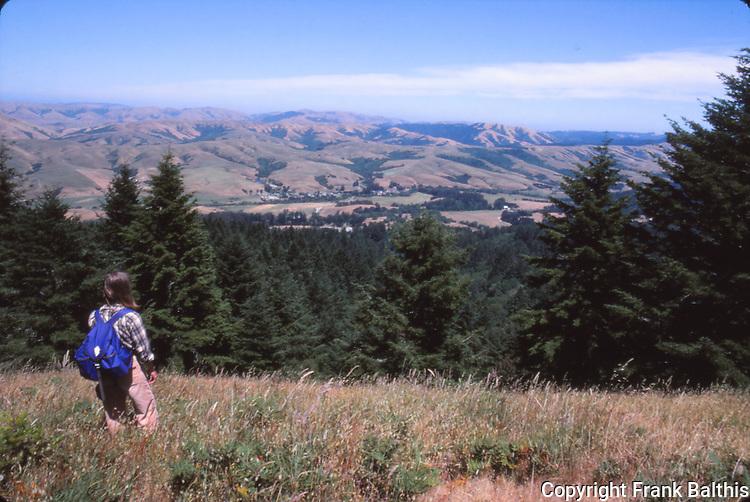 Woman hiking at Point Reyes