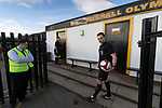 Rushall Olympic 1 Workingon 0, 17/02/2018. Dales Lane, Northern Premier League Premier Division. Referee Mr Rollason waits for the teams to appear. Photo by Paul Thompson. Rushall Olympic 1 Workingon 0, Northern Premier League Premier Division, 17th February 2018. Rushall is a former mining village now part of the northern suburbs of Walsall.