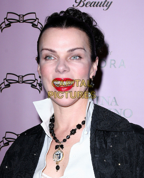 "DEBI MAZAR .Attending the Launch of The ""Tarina Tarantino Beauty"" Cosmetic Collection presented Exclusively at Sephora,.Hollywood, California, USA,.24th February 2010..portrait headshot  white shirt black necklace red lipstick make-up cat cameo mouth open .CAP/ADM/KB.©Kevan Brooks/AdMedia/Capital Pictures."