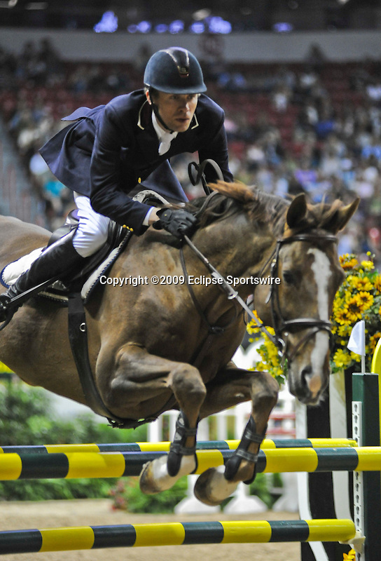 17 April 2009: Thomas Velin (DEN) and Grim St. Clair at the Rolex World Cup Jumping Final II.