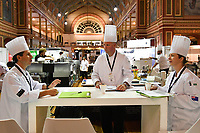 Melbourne, 30 May 2017 - The kitchen invigilators Glenn Flood from the ALH Group, John McFadden from the Parkroyal Hotel Darling Harbour, and Karen Doyle from Le Cordon Bleu meet pror to the start of the Australian selection trials of the Bocuse d'Or culinary competition held during the Food Service Australia show at the Royal Exhibition Building in Melbourne, Australia. Photo Sydney Low
